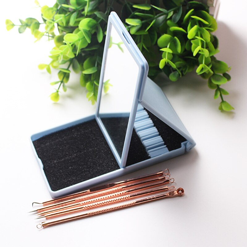 Stainless Steel Gold Pimple Extractor Blackhead Remover Tool Blemish Comedone Acne Extractor Removal Needles Plastic Case