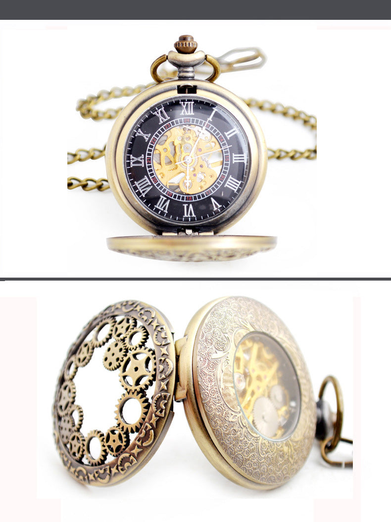 2019 New Vintage Bronze Steampunk Mens Mechanical Pocket Watch Hollow Gear FOB Pocket Watches with Chain Men's Jewelry Gift