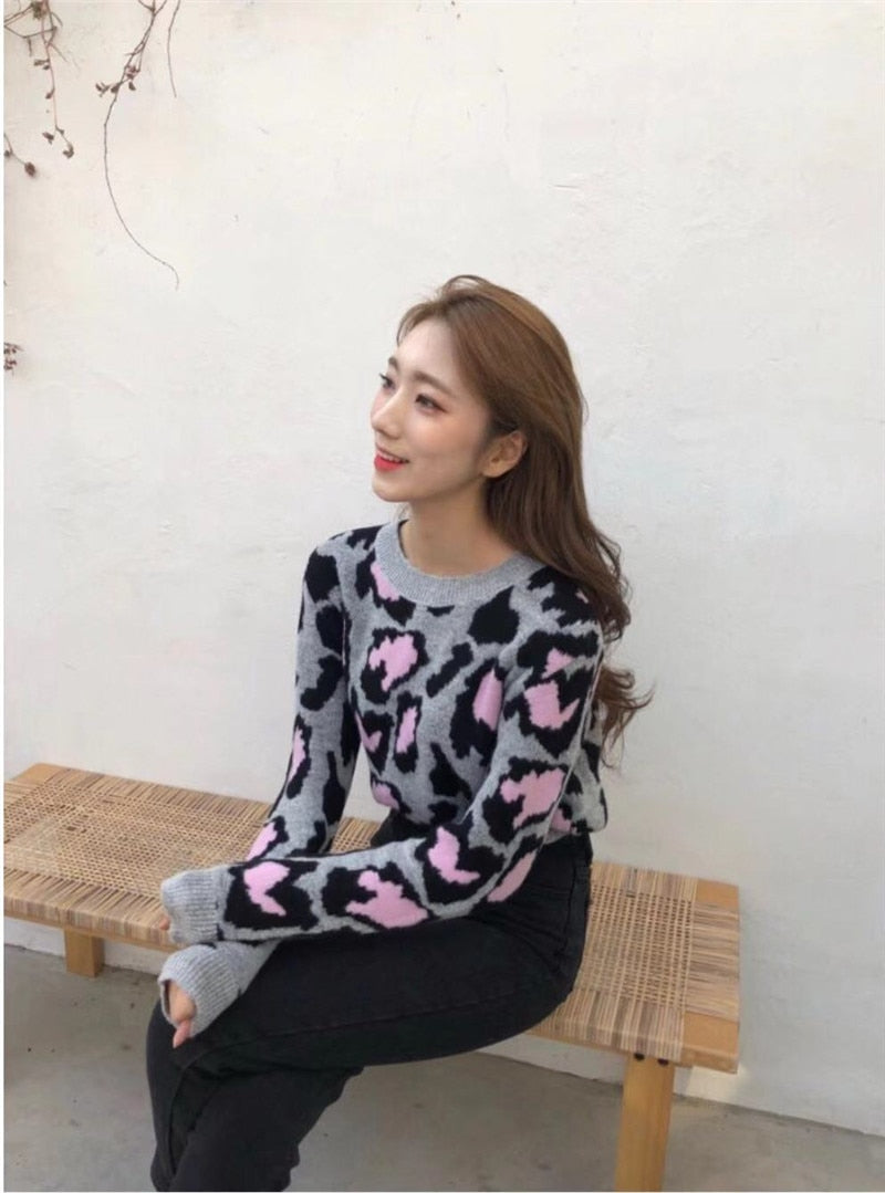 RUGOD Vintage Fashion Leopard Women Sweaters Knitted Warm Winter Clothes Casual O-Neck Women Pullover pull femme hiver
