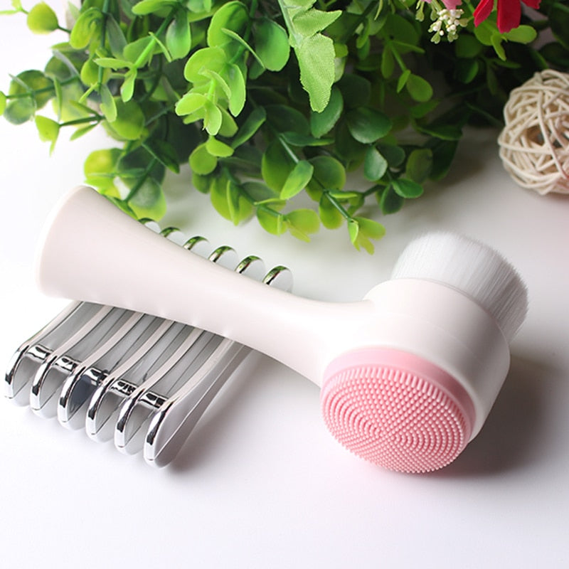 Double Side Multifunctional Silicone Facial Cleansing Brush Portable 3D Face Cleaning Massage Skin Tool Exfoliator Facial Brush
