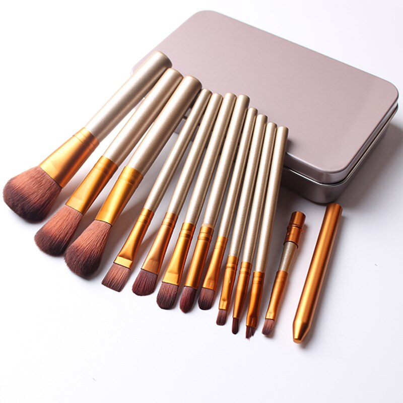 Golden 12 Pcs/box Make Up Brushes Set Foundation Face&Eye Powder Blusher Professional Pinceaux Cosmetics Makeup Brush good Gift