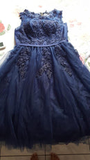 Lace Many Color Illusion Flowers Beading A-line Knee Length Dinner Bridesmaids Dresses Party Short Formal Dress LX073