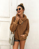 Nadafair Fleece Thick Oversized Sweater Women Scarf Collar Neck Knitted Faux Fur Casual Pullover Christmas Fluffy Sweater Jumper