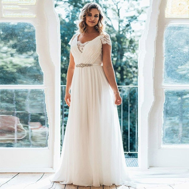 Plus Size Wedding Dresses 2019 V Neck Short Sleeve Brush Chiffon Train Illusion Back Beaded Sash Waist Summer Wedding Dress