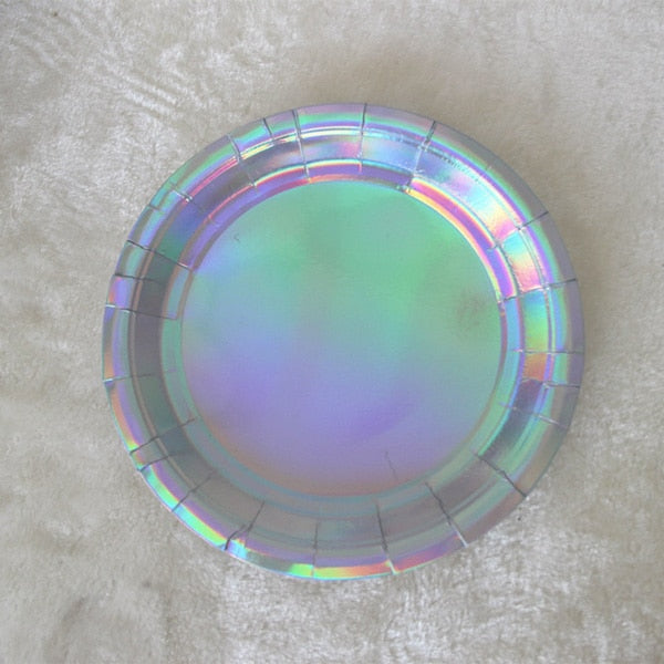 "8Pcs Iridescent Sparkle Shell Paper Plates Party Dish Tableware 9"" Mermaid Theme Festival For Baby Shower Wedding Party Supplies"