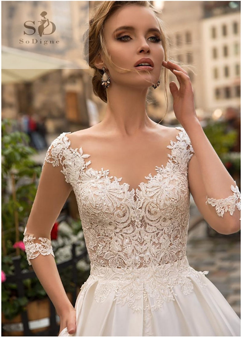 SoDigne 2019 July Wedding dress Long Sleeve Boho Bride Dresses For Women A Line Ivory Lace Appliques   Satin Wedding Gown