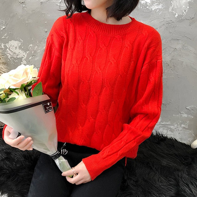Colorfaith New 2019 Autumn Winter Women's Sweater Pullovers Knitting Elegant Office Lady Slim Solid Minimalist Tops SW5882