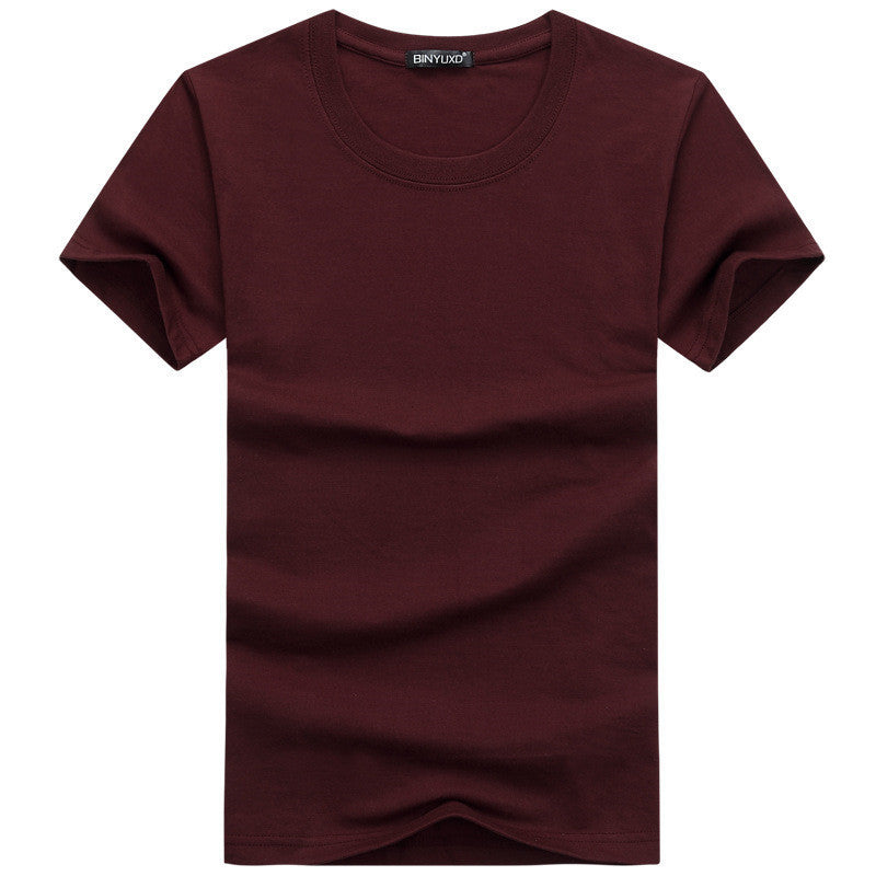 Men's T-shirts Short Sleeved Solid Cotton Spandex Regular Fit Casual Summer Tops Tee Shirts Male Clothes