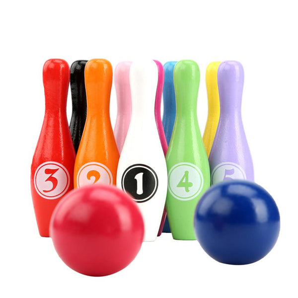 Wooden Colorful Digital Bowling Children's Educational Toy Indoor Outdoor Sports Bowling Game for Kids Children