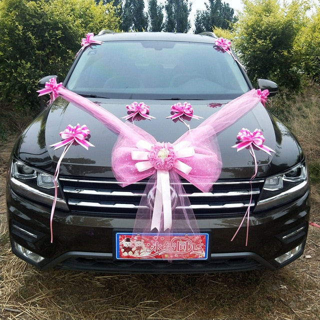 Wedding Car Decorative Flower Silk Artificial Tulle Bowknot Party  Roses Car Decorations Accessories Festival Supplies