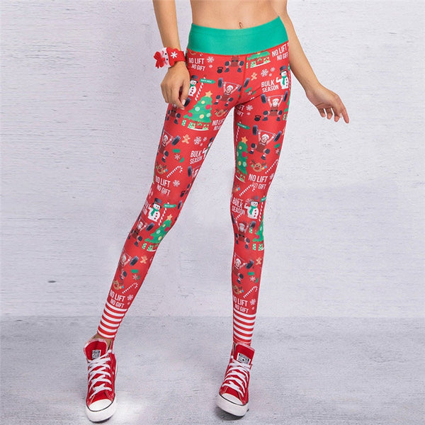 13 Colors 2019 Christmas Printing Leggings Sexy Hip Elastic High Waist Push Up Legging Breathable Merry Christmas Pants Leggings