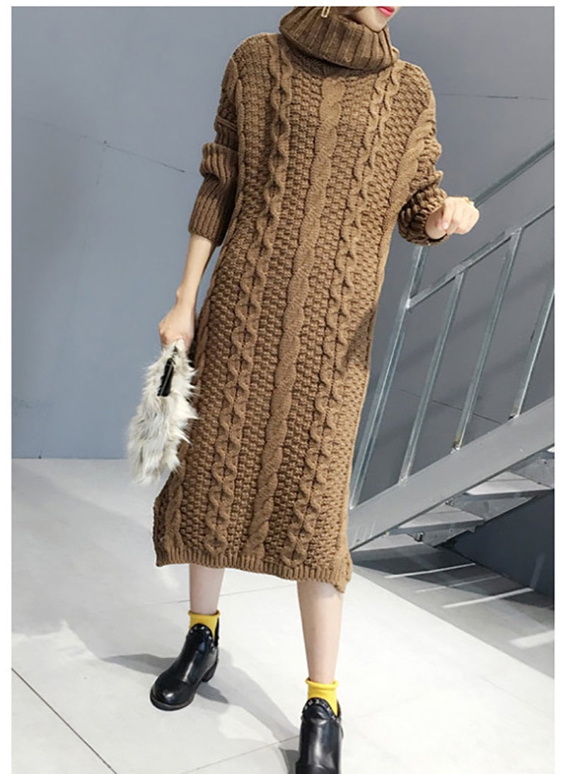 Autumn 2019 Long Style Knit High-collar Sweater Dress Fashion Pullover Sweater Loose Casual Rice White Thick Sweater Dress