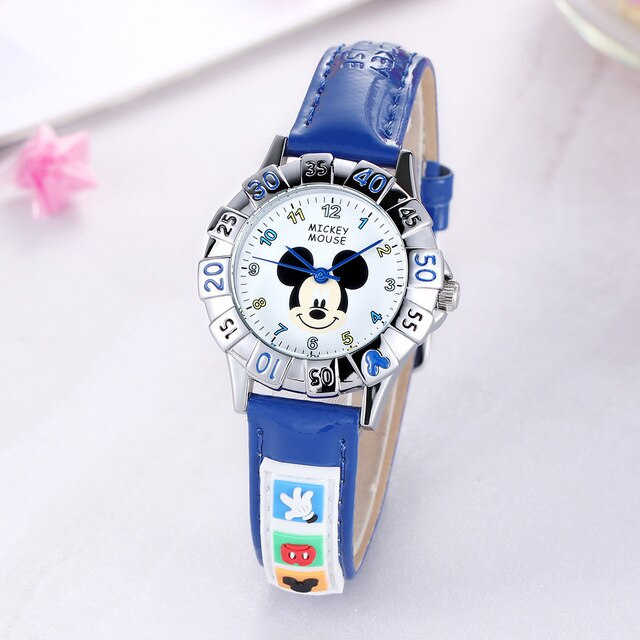Child wristwatches quartz waterproof Mickey mouse Children's Watches leather pink blue boy girl watches