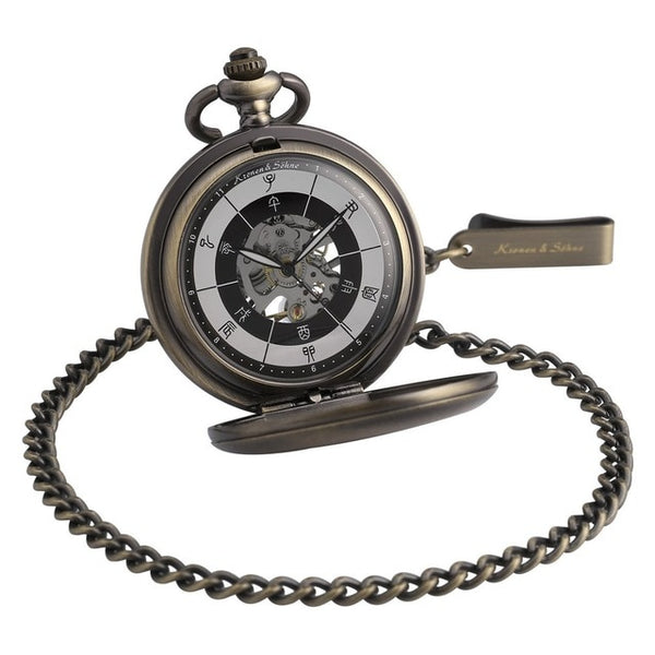 Skeleton Steampunk Analog Fob Long Chain Clock Mechanical Pocket Watch Jewelry /KSP085