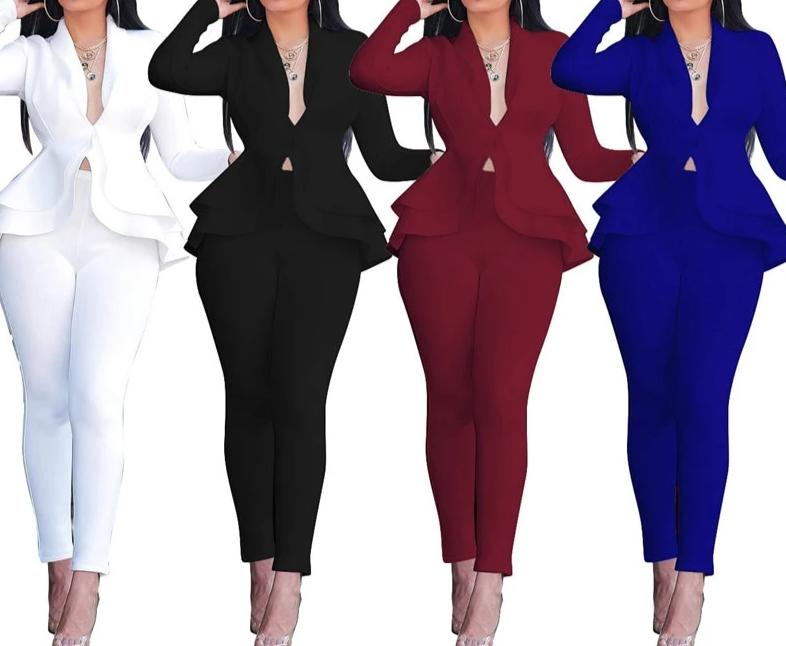 Adogirl Women Winter Women's Set Tracksuit Full Sleeve Ruffles Blazers +Pencil Pants Suit Two Piece Set Office Lady Outfits
