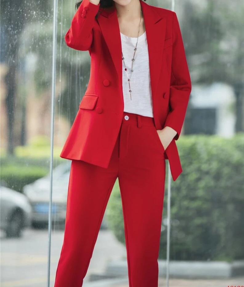 Elegant Pink 2018 Autumn Winter Formal Business Suit With Jackets And Pants Ladies Blazers Pants Suits Women Trousers Sets