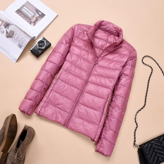 Women Autumn Coats Warm Duck Down 2019 Spring Winter Female Casual Jacket Stand Neck Light Thin Style Ladies Slim Jacket 3XL 4XL