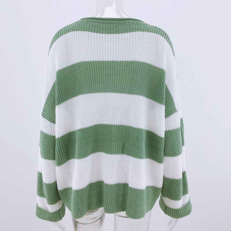 Fashion Striped Loose Ladies Sweater Pullover women 2019 Autumn Winter New Arrival Green Jumpers Knit Sweaters Women Pull Femme
