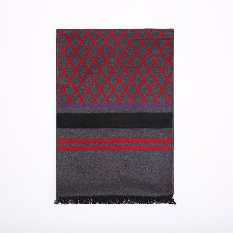 High Style Plaid 100% Silk Brushed Scarfs for Men Winter Warm Scarf Wraps 180x30cm