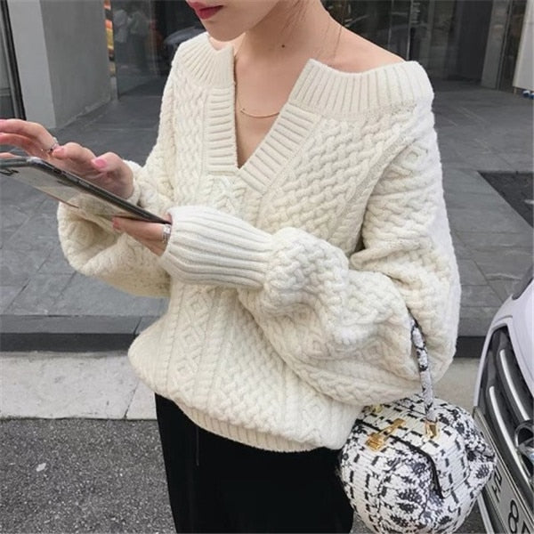 RUGOD Korean Fashion Twist Knitted V-neck Sweater Women Long Sleeve Beige Pullover Autumn Winter Warm Thick Sweater Tops  2019