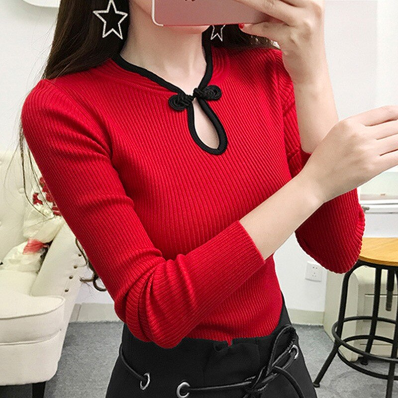 Vintage Women Slim Sweater Female Knitted Pullover Elegant Lady Long Sleeve Sweater