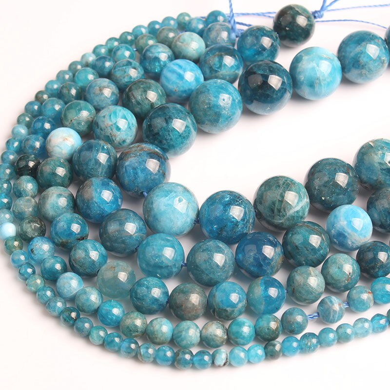 LanLi  natural jewelry 4/6/8/10mm  blue apatite loose Beads DIY men and women Bracelet Necklace  anklet Accessories