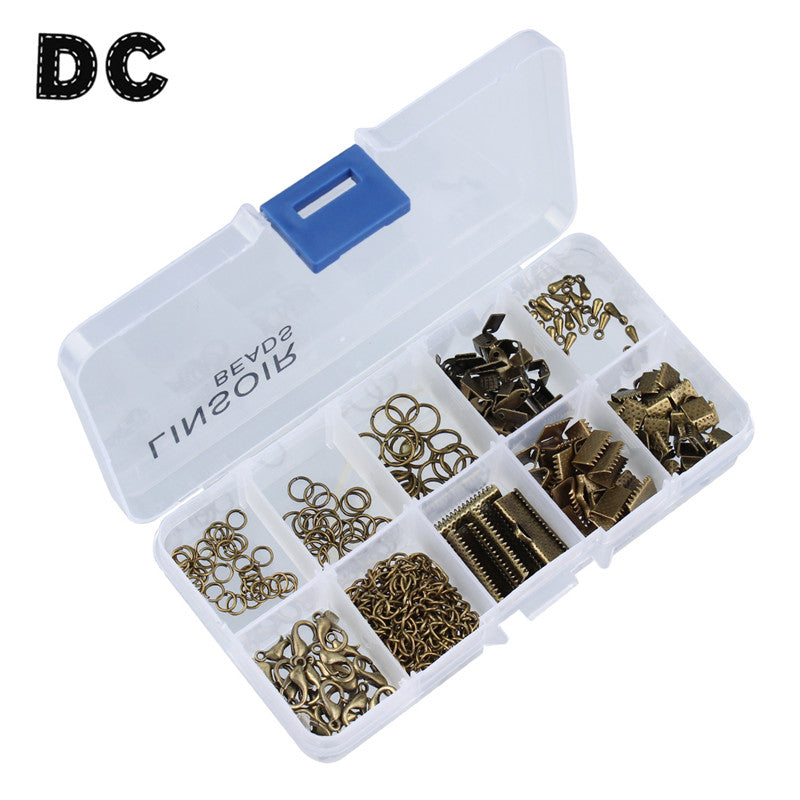 DC 1box/lot Mixed Ends Fastener Clasps/Lobster Clasps/Jump Rings/Extender Chains/Crimp Beads Set for Jewelry Findings Making
