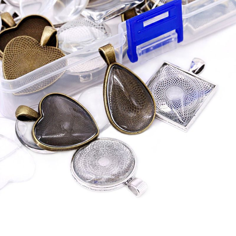 48Pcs DIY Pendant Tray Round Square Heart Teardrop Glass Cabochon Jewelry Making