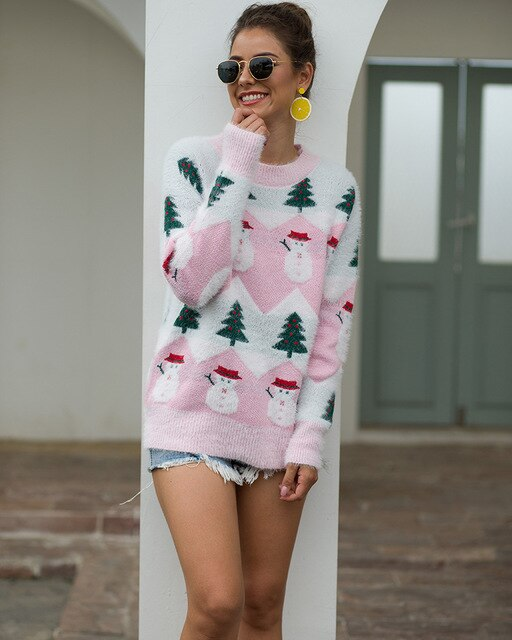 Ugly Christmas Sweater Jumper Women Fashion Thickening Hippocampus Christmas Pullover Knitted Winter long sleeve Knitwear Top
