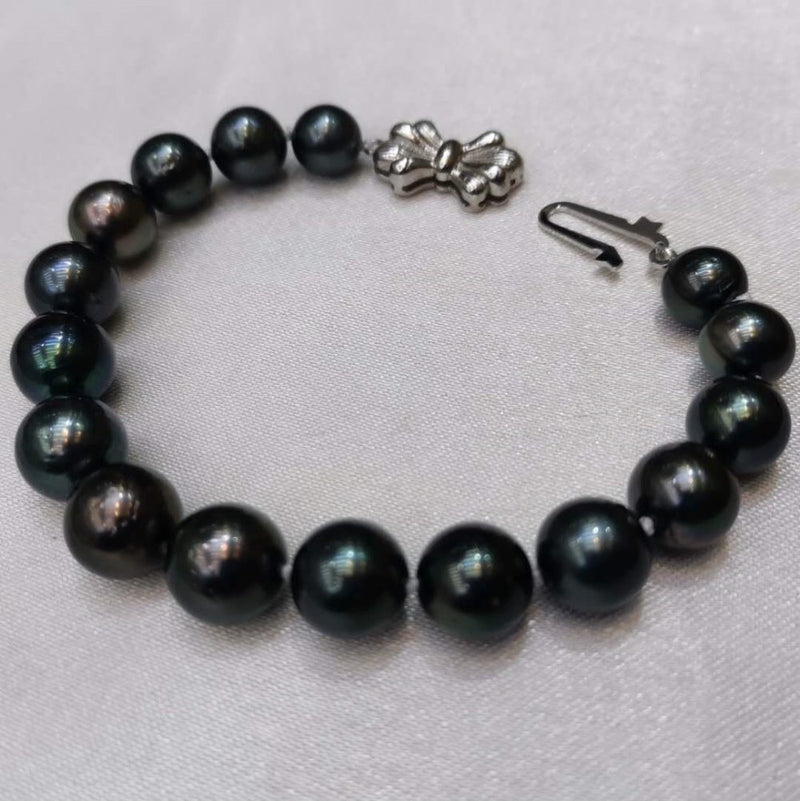 Newly stunning 8-10mm round black real Tahitian pearl bracelet s925 clasp
