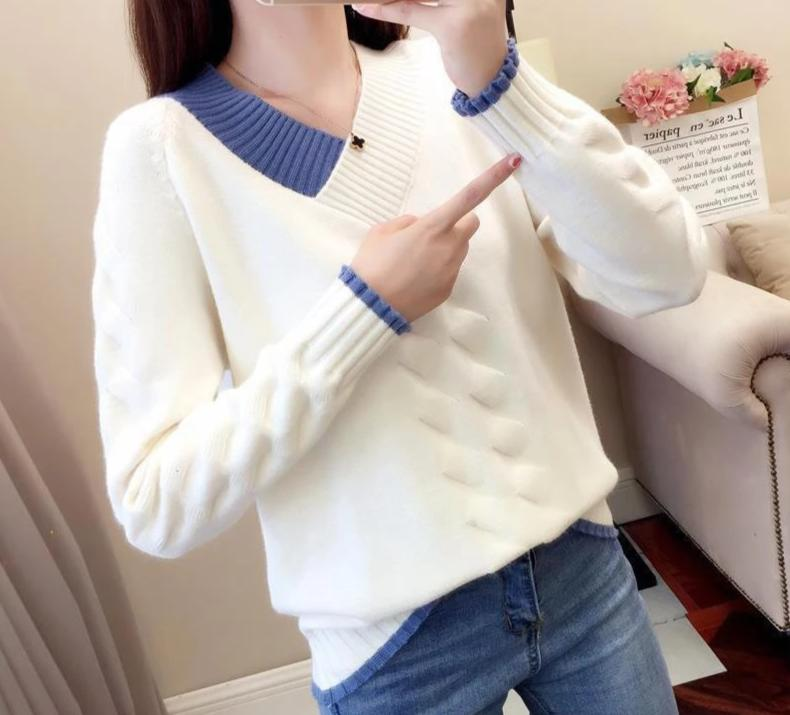 Women Knitted Sweaters and Pullovers Casual Long Sleeve Women Warm V-Neck Fall Jumper Korea Twist Female Solid Pull Blue Sweater