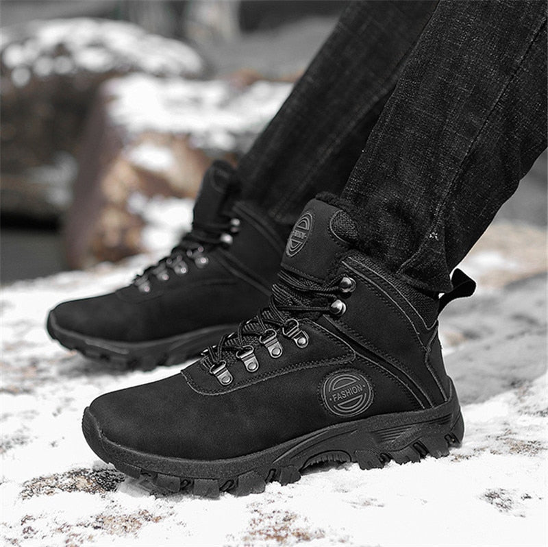 Winter Shoes Men Snow Warm Flock Leather Boots | Bottes Homme Hiver Cuir Chaud