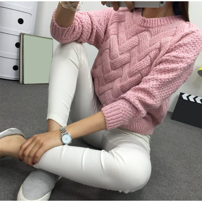 Winter O-neck Women's Sweater Jersey Woman Mohair Knitted Twisted Thick Warm Lady's Pullover 2019 College Jumper Women Pink Gray
