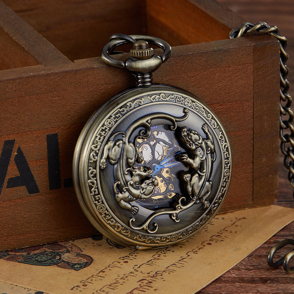 Retro Unique Openwork Black Stainless Steel Mechanical Pocket Watch Pendant Fob Chain Men Watches relogio de bolso mecanicas new
