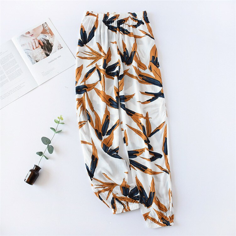 Multi Colors 2019 Sleep Bottoms Women Floral Pants Autumn Trousers Elastic Waist Wide Legs Loose Knitted Pajama Pants Pijamas