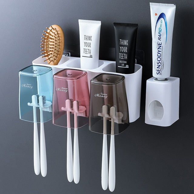 Toothbrush Holder With Automatic Toothpaste Squeezer Dispenser Support Dentifrice