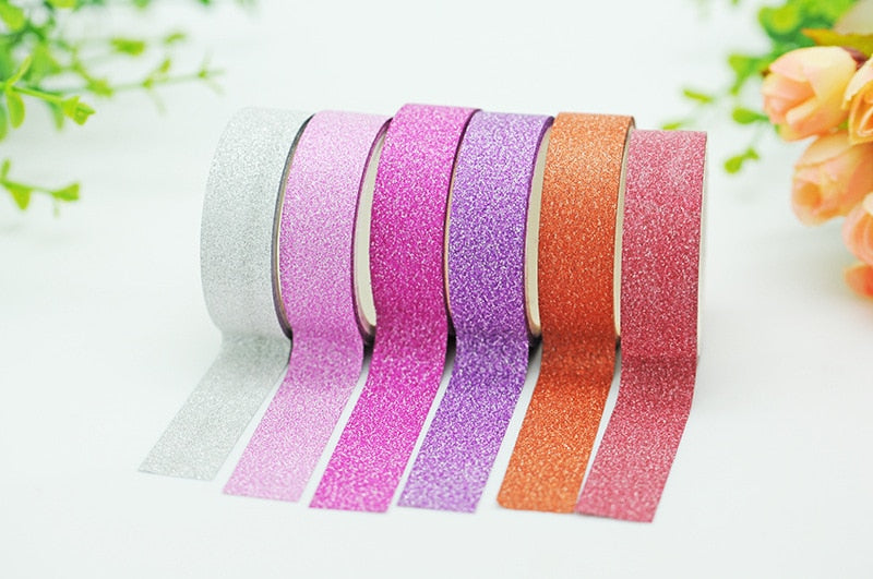 Glitter Washi Tape Sticker Paper Masking Adhesive Office School Tape Label Craft For DIY Decorative Tape JD23