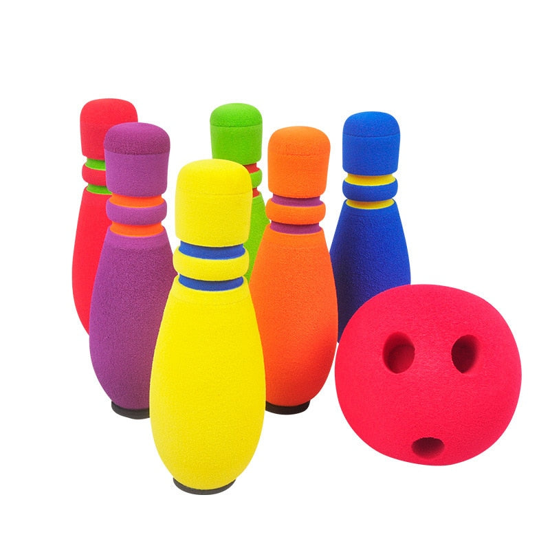 Kids Funny NBR Safety Bowling Set 1 Balls 6 Pins Bowlings Game Sports Exercise Indoor&Outdoor Educational Toys