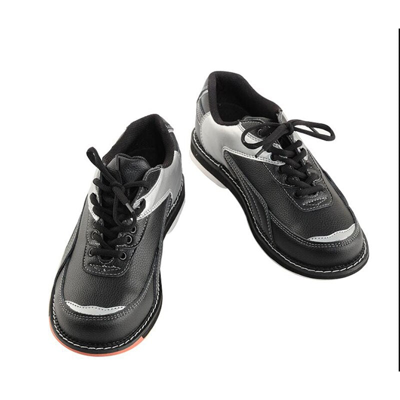 High quality men's bowling shoes non-slip sole professional leather upper sneakers ladies breathable shoes bowling supplies