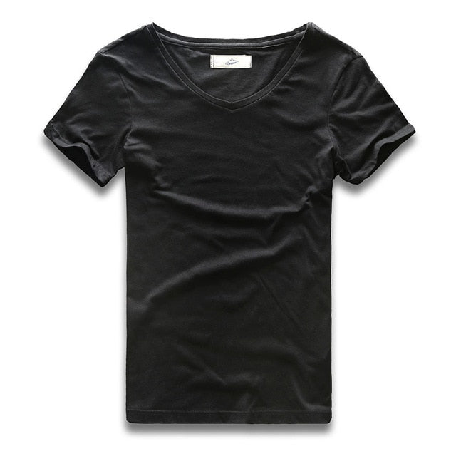 Deep V Neck T Shirt for Men Male Top Tees Male Modal Cotton Slim Fit Short Sleeve Invisible Undershirt