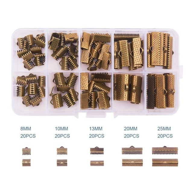 About 100Pcs/Box  Ribbon Clamp End Crimps Sets for Jewelry Making Findings 8mm 10mm 13mm 20mm 25mm