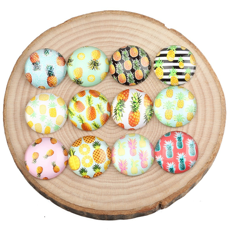 onwear mix pineapple photo round dome glass cabochon 12mm 20mm 25mm diy jewelry findings for earrings bracelets making