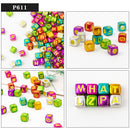 200pcs Acrylic Cube Letter Beads for Jewelry Making DIY accessories  for needlework Alphabet loose spacer Beads Wholesale P611