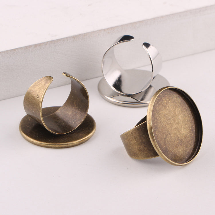 onwear 10pcs antique bronze fit 25mm round cabochon ring blanks diy cameo base settings for jewelry making