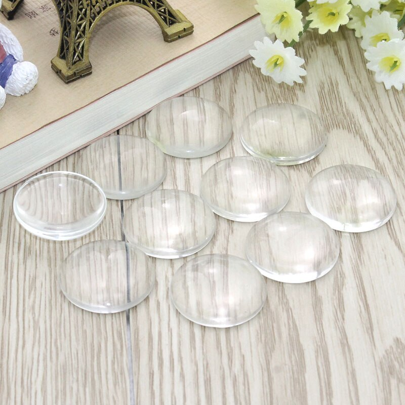 8/10/12/14/16/18/20/25/30/35/40/45/50 Round Flat Back Clear Glass Cabochon, High Quality, Cabochon Cameo For Diy Jewelry Making