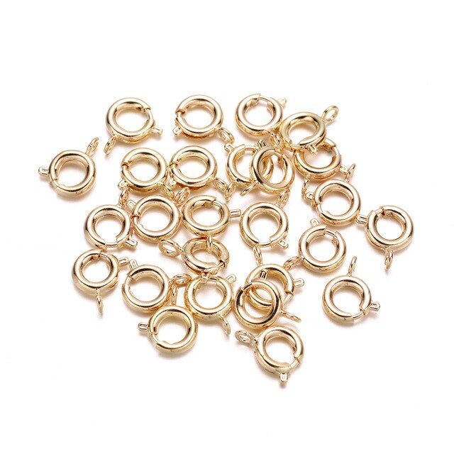 30pcs/lot Gold Silver Spring Ring Clasp With Open Jump Ring jewelry Clasp For Chain Necklace Bracelet Connectors Jewelry Making