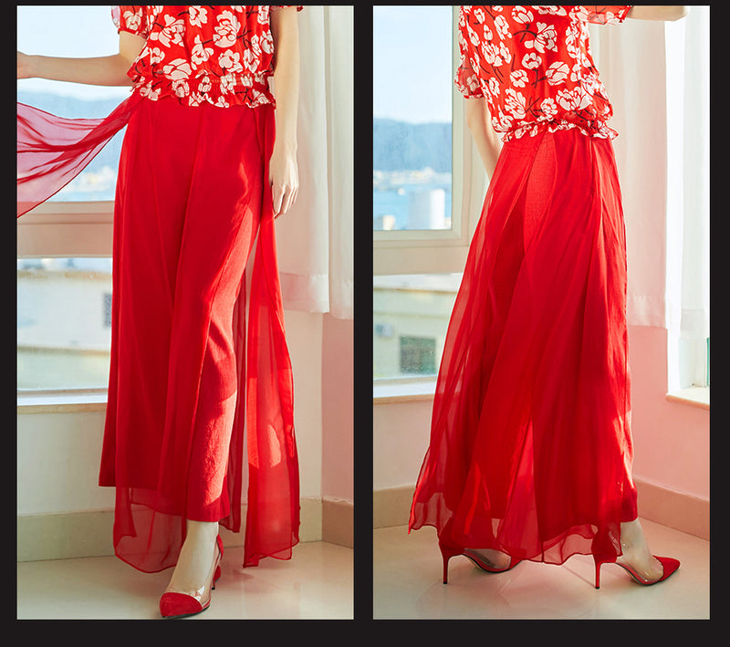 Summer Chinese Red Silk Wide Leg Pants Women Casual Long Trousers Elegant Office Ladies Bottoms Loose spodnie damskie Palazzo