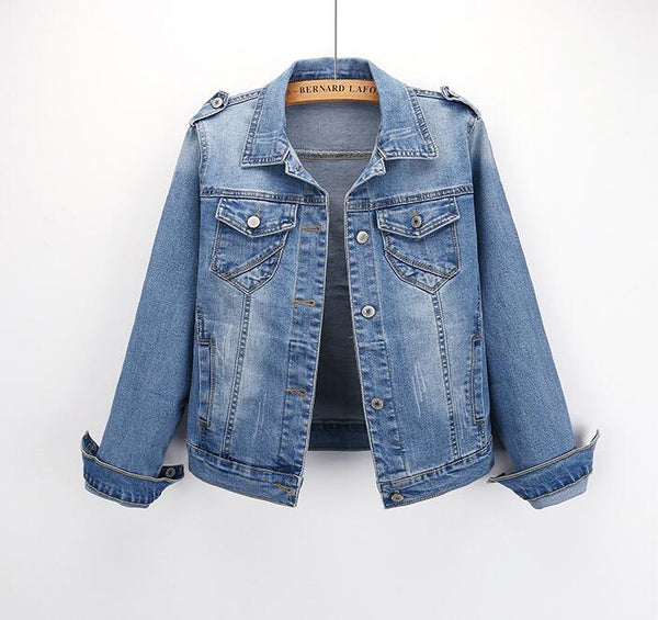 Denim Jacket Women Coat Long Sleeves