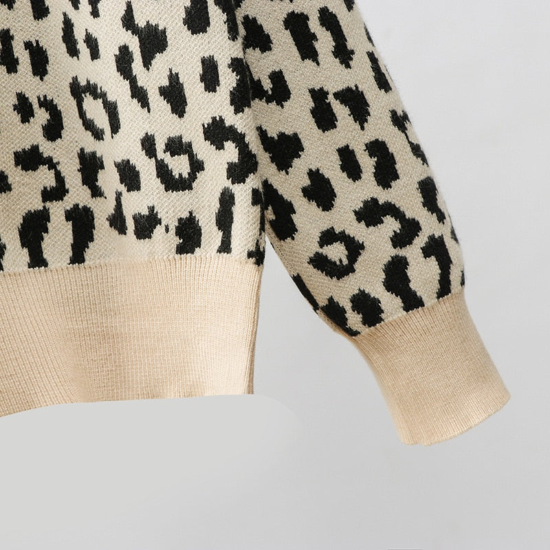 2019 korean jumper Autumn winter Knitted Sweater Women oversized sweaters female leopard jacquard fashion wool blends pullover