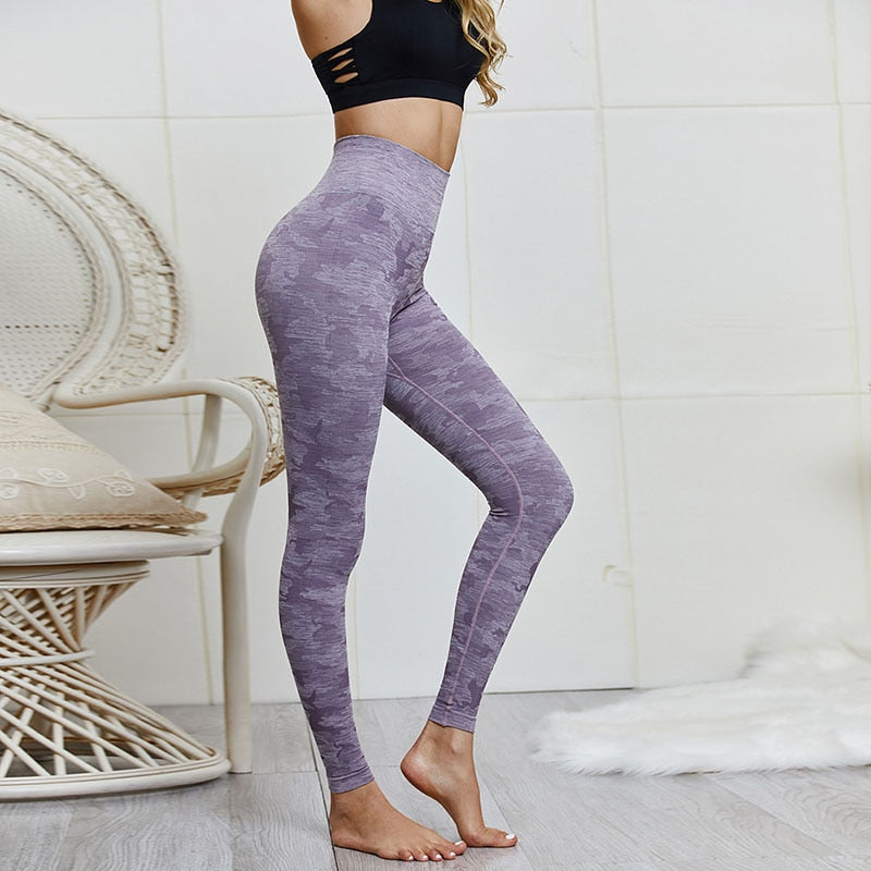 NORMOV Fitness Women Leggings High Waist Push Up Camouflage Ankle Length Polyester Seamless Leggins Casual Purple Leggings